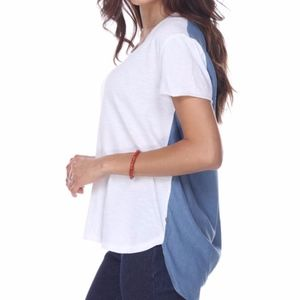 Neon Buddha White Blue Pleated Back Lagoon Shirt